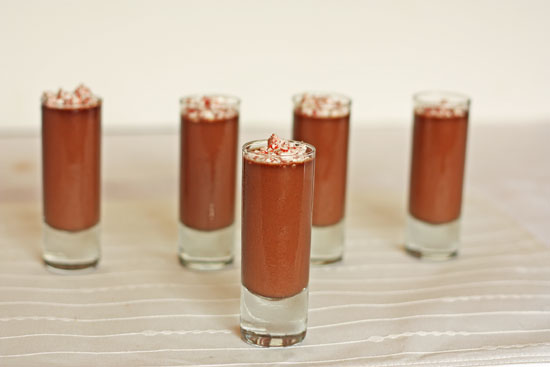 Chocolate Peppermint Pudding Shots