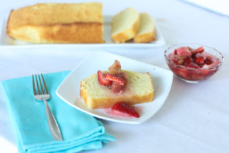 lemon pound cake with strawberry rhubarb compote