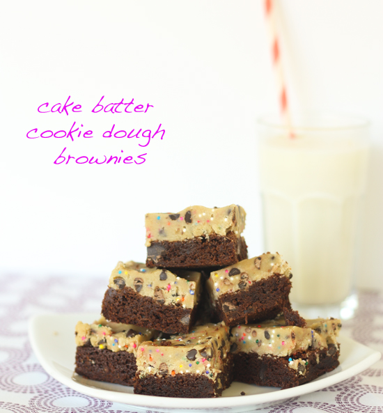 Post image for Cake Batter Cookie Dough Brownies