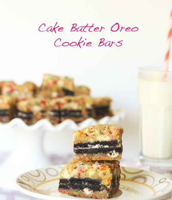 Post image for Cake Batter Oreo Cookie Bars