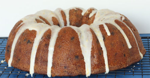Meyer Lemon, Almond, and Blueberry Bundt Cake